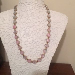 Hombre style pink and white crystal necklace